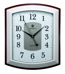 Zegar ścienny analogowy Perfect PW 013 Brązowo/biały