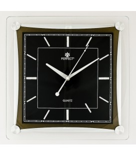 Zegar ścienny analogowy Perfect PW 093 Srebrno-czarny