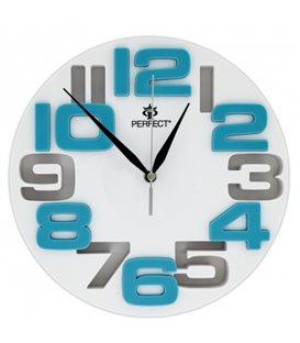 Zegar ścienny analogowy Perfect WL 689A Biała tarcza niebieskie cyfry