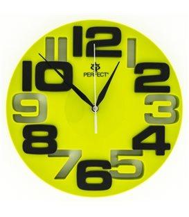 Zegar ścienny analogowy Perfect WL 689A Zielona tarcza czarne cyfry