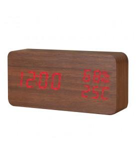 Budzik XONIX GHY-016 brązowy z czerwonym wyświetlaczem