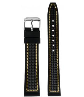 Pasek silikonowy wzór karbon 22 mm czarny z żółtym przeszyciem