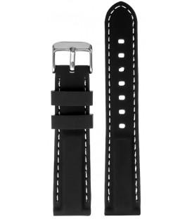 Pasek silikonowy 18 mm czarny z białym przeszyciem