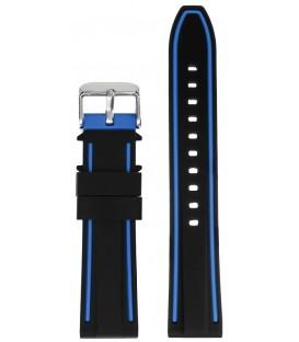 Pasek silikonowy 22 mm czarny z szarym obszyciem