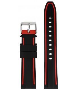 Pasek silikonowy 22mm czarny z czerwonym obszyciem