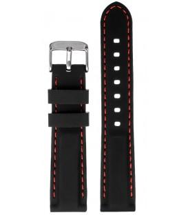 Pasek silikonowy 18mm czarny z czerwonym  przeszyciem
