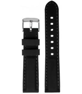Pasek silikonowy 20mm czarny z czarnym  przeszyciem