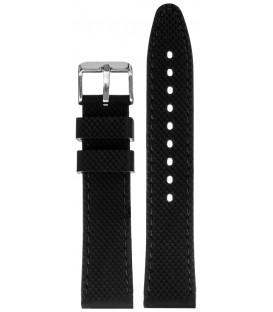 Pasek silikonowy 20mm czarny z czarnym  przeszyciem chropowaty