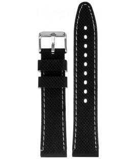 Pasek silikonowy 20mm czarny z białym przeszyciem chropowaty
