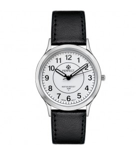 Zegarek Perfect pasek standard B7383 IPS biała tarcza czarny pasek