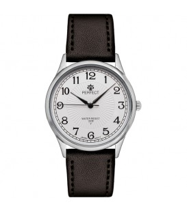 Zegarek Perfect pasek standard B7386 IPS biała tarcza brązowy pasek