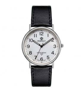 Zegarek Perfect pasek standard B7380 IPS czarny pasek biała tarcza