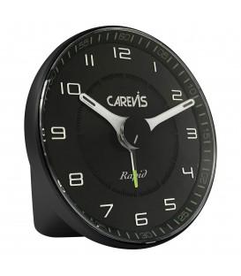 Budzik kwarcowy CAREVIS C08 czarny z białą tarczą