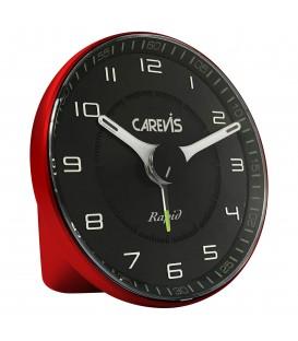 Budzik kwarcowy CAREVIS C08 czerwony z czarną tarczą