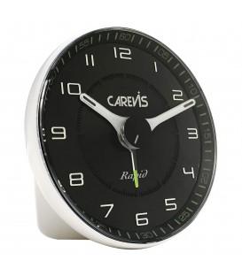 Budzik kwarcowy CAREVIS C08 srebrny z białą tarczą