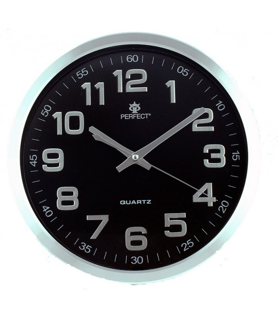 Zegar ścienny analogowy Perfect PW 192 srebrny czarna tarcza Ø 30.5