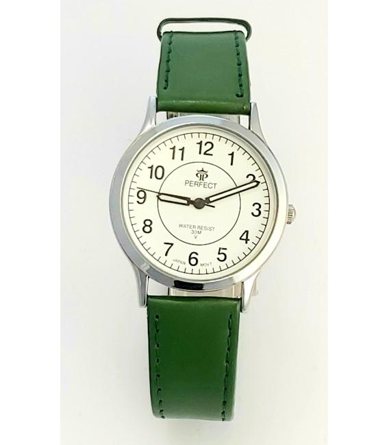 Zegarek Perfect pasek standard B7383 IPS biała tarcza zielony pasek