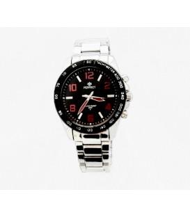 Zegarek PF M107 srebrna bransoleta,czarwone  cyfry