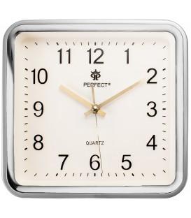 Zegar ścienny analogowy Perfect PW 159  srebrny