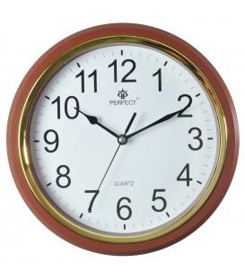Zegar ścienny analogowy Perfect FX-5842 Brązowa ramka