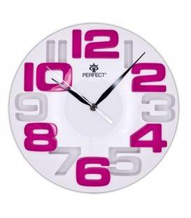 Zegar ścienny analogowy Perfect WL 689A Biała tarcza różowe cyfry