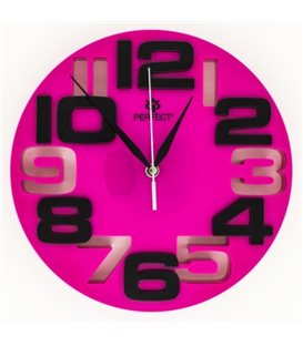 Zegar ścienny analogowy Perfect WL 689A Różowa tarcza czarne cyfry Ø 26.0