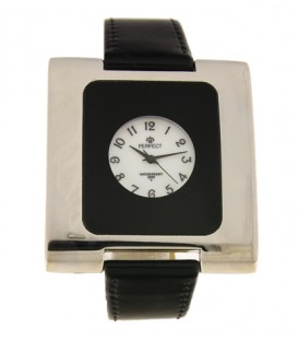 Zegarek Perfect G218 czarny pasek biało-czarna tarcza