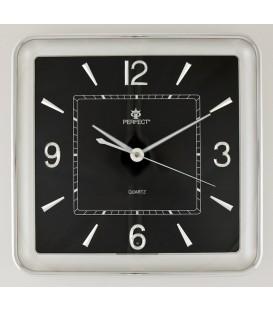 Zegar ścienny analogowy Perfect PW 165 SILVER czarna tarcza