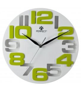 Zegar ścienny analogowy Perfect WL 689A BIAŁA TARCZA ZIELONE CYFRY Ø 26.0
